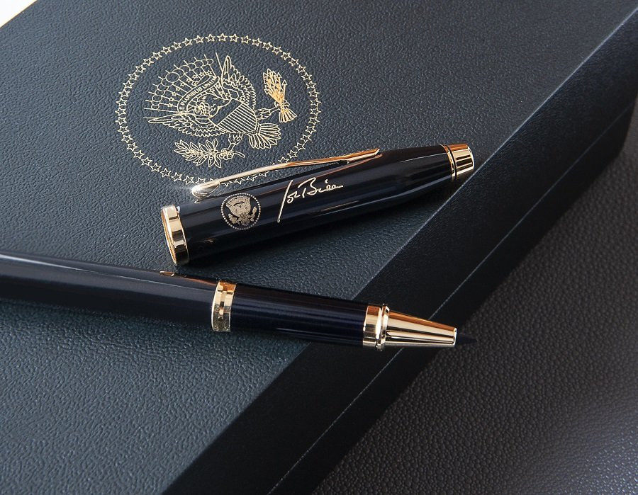 President Joseph Biden Signs Inaugural Day Proclamations With A Customized Cross Pen